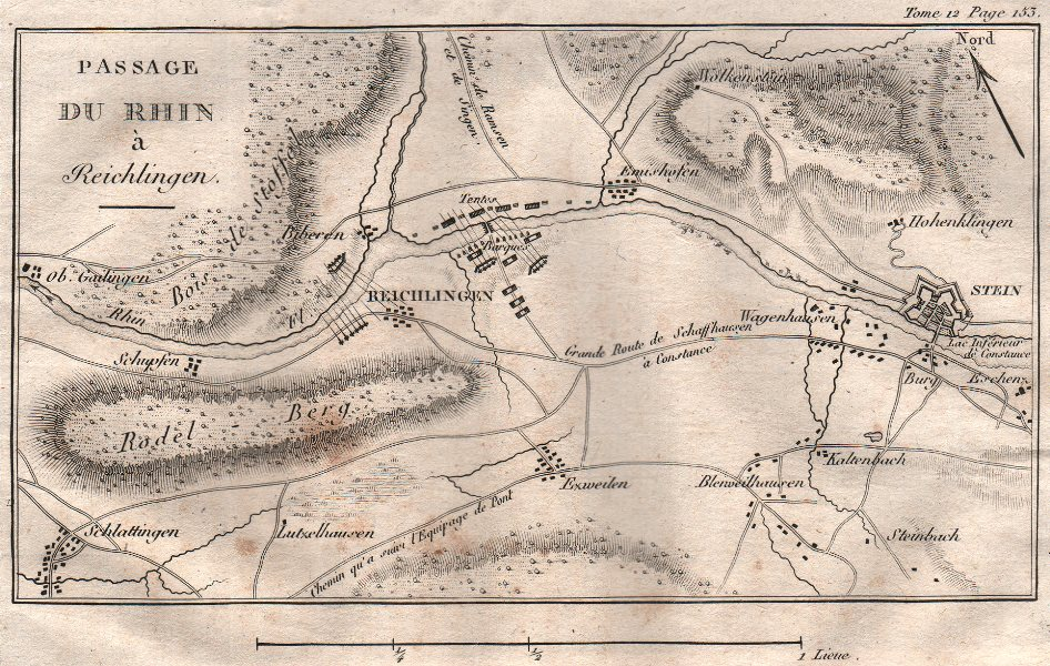 Associate Product Crossing of the Rhine in Rheinklingen 1799. Stein am Rhein. Switzerland 1819 map
