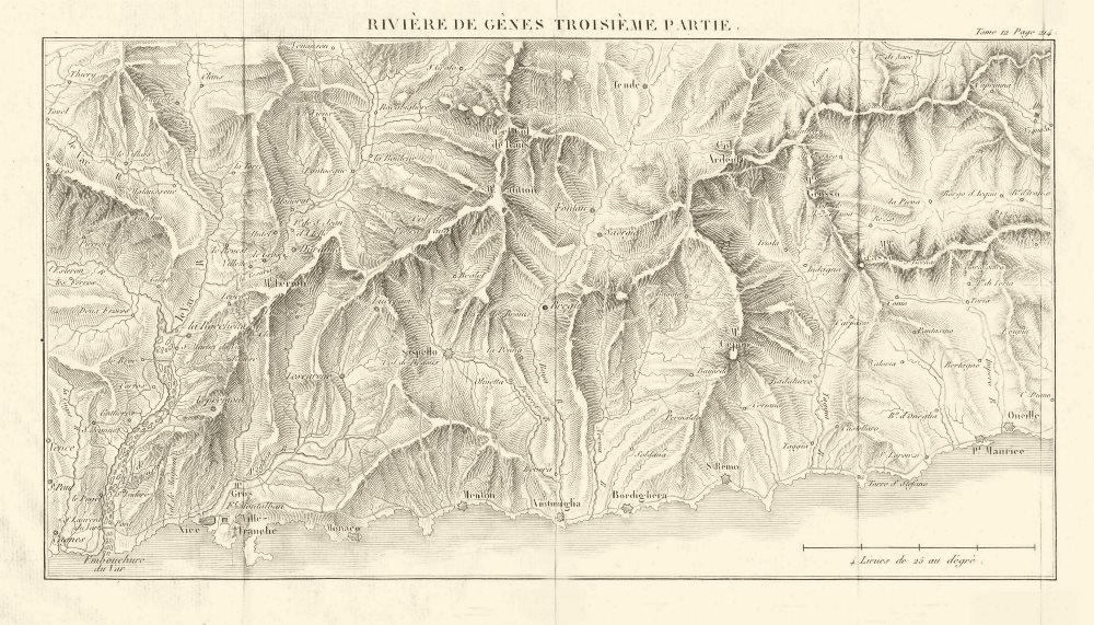 Associate Product FRENCH/ITALIAN RIVIERA ligure ponente. Cote d'Azur Nice-Sanremo-Imperia 1819 map