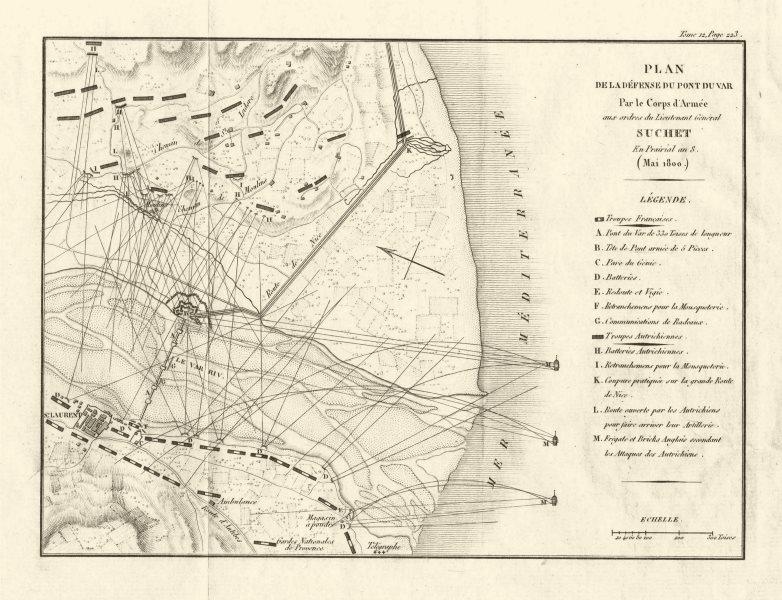 Associate Product Defence of St-Laurent-du-Var by Gen Suchet 1800. Nice, Alpes Maritimes 1819 map