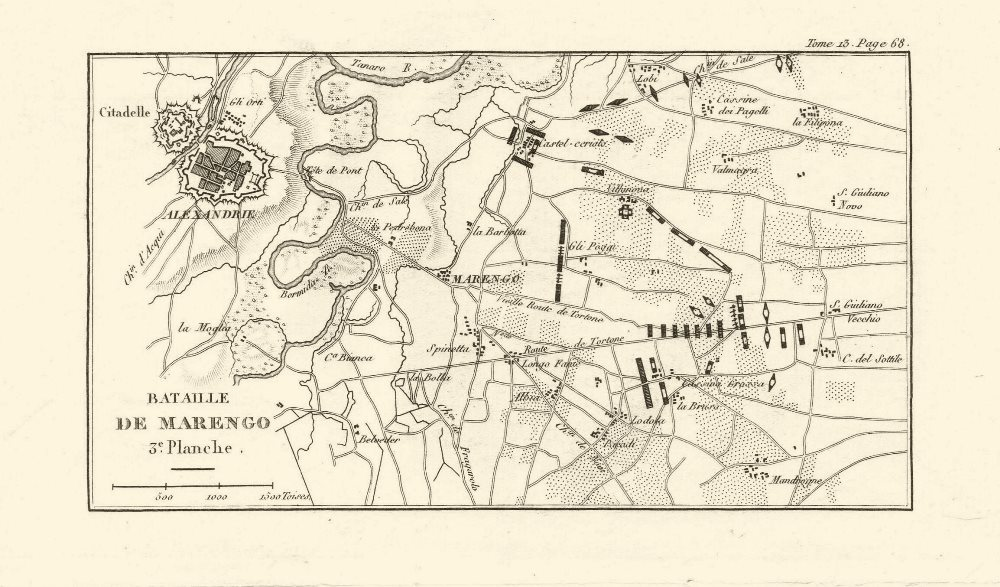 Battle of Marengo 1800. Plate 3. Alessandria. Italy 1819 old antique map chart