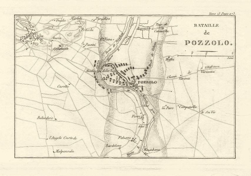 Associate Product Battle of Pozzolo (Battle of the Mincio River) 1800, Monzambano. Italy 1819 map