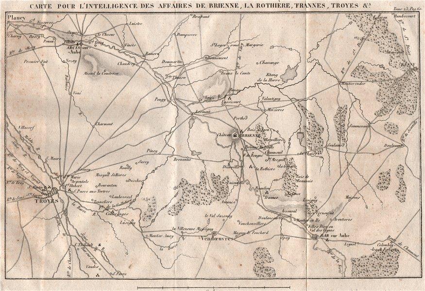 Associate Product 6th COALITION WAR 1814. Battle Brienne La Rothiere Trannes Troyes. Aube 1819 map