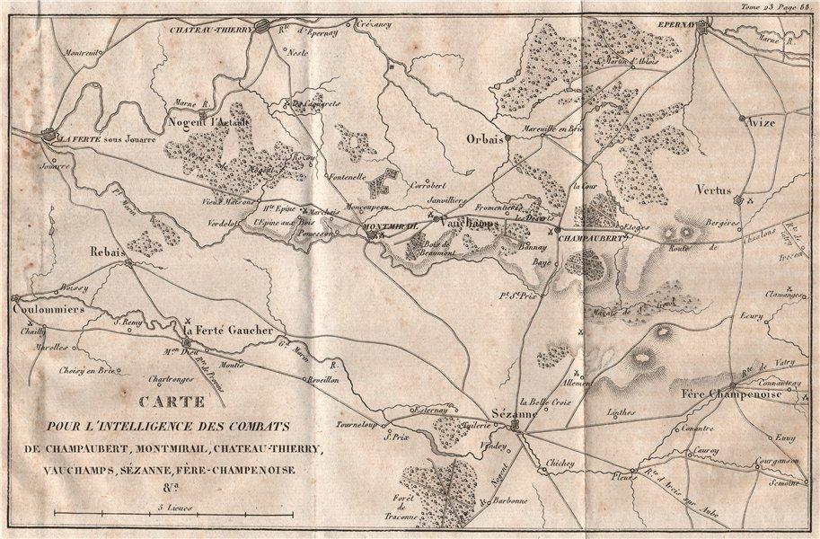 Associate Product SIX DAYS CAMPAIGN 1814 Champaubert Montmirail Chateau-Thierry Vauchamps 1819 map