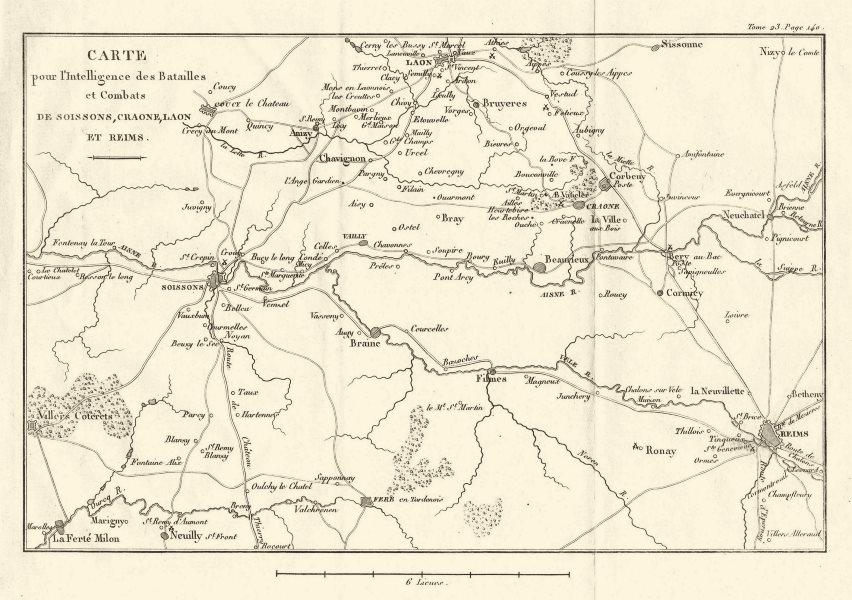 Associate Product SIXTH COALITION WAR 1814. Battles Soissons Craonne Laon Reims. Aisne 1819 map