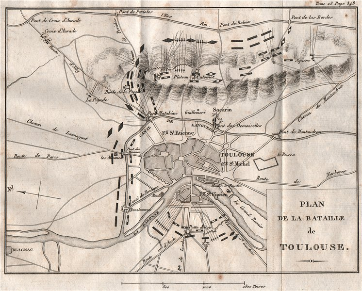 Associate Product Plan of the Battle of TOULOUSE 1814. Haute-Garonne 1819 old antique map chart