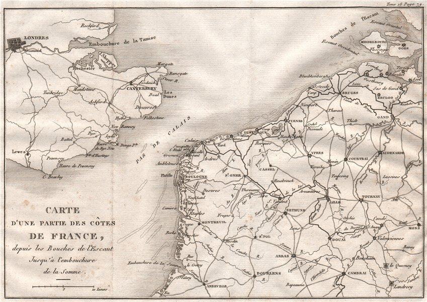 Associate Product ENGLISH CHANNEL Napoleon's Flotille de Boulogne for planned UK invasion 1819 map