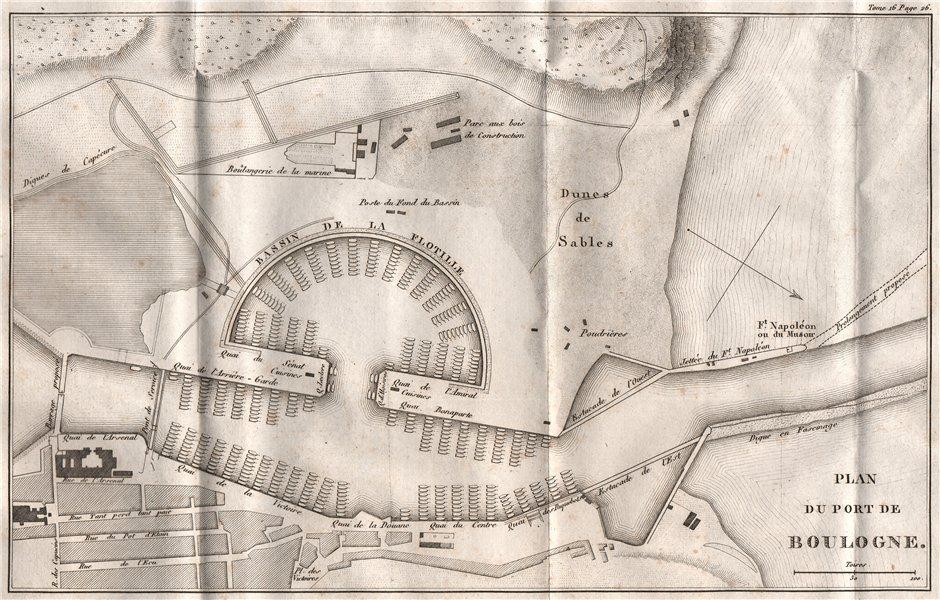 Associate Product Port/ Flotille de BOULOGNE. Napoleon's fleet for planned invasion of UK 1819 map