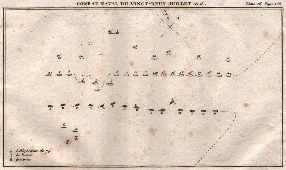 Associate Product Battle of Cape Finisterre (22 July 1805), Galicia, Spain 1819 old antique map