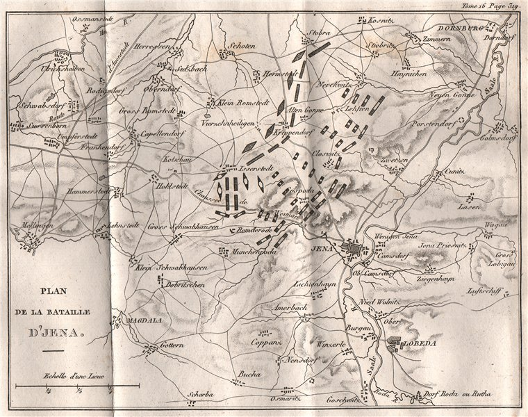 Associate Product Battle of Jena 1806. War of the Fourth Coalition. Thuringia 1819 old map