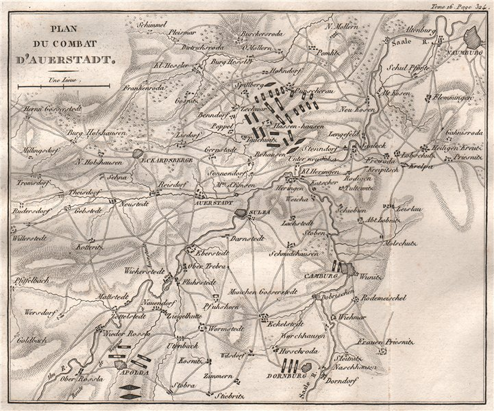Associate Product Battle of Auerstedt 1806. War of the Fourth Coalition. Thuringia 1819 old map