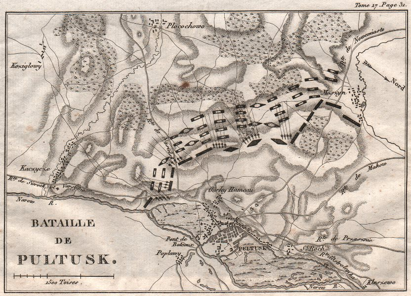 Battle of Pultusk 1806. War of the Fourth Coalition. Poland 1820 old map