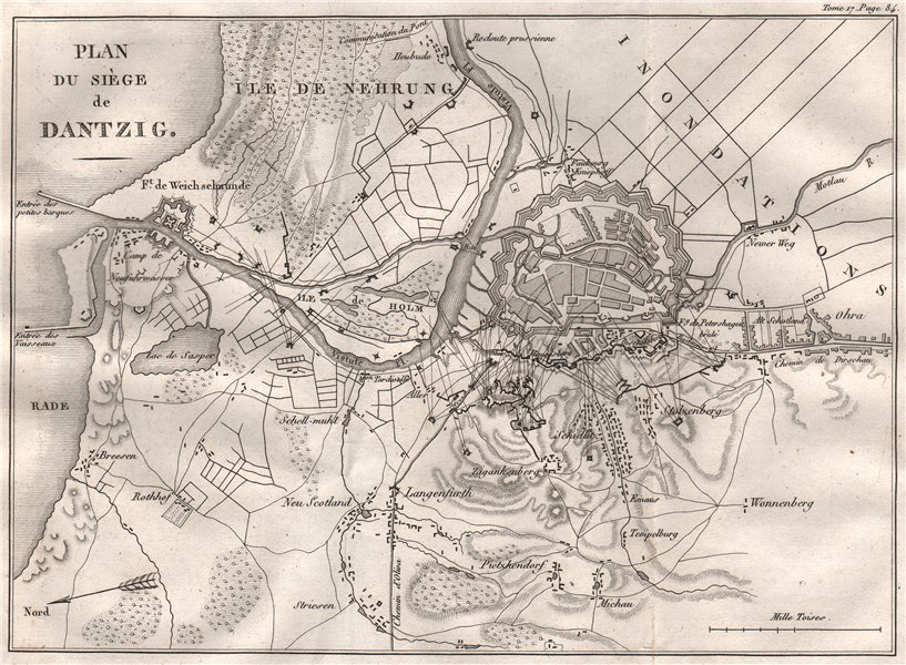 Associate Product SIEGE OF DANZIG 1807. Poland 1820 old antique vintage map plan chart