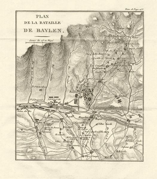 Associate Product Battle of Bailén (Bailen/Baylen) 1808. Peninsular War. Spain 1820 old map