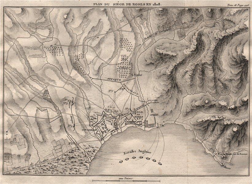 Siege of Roses (Rosas) 1808. Girona. Peninsular War. Spain 1820 old map