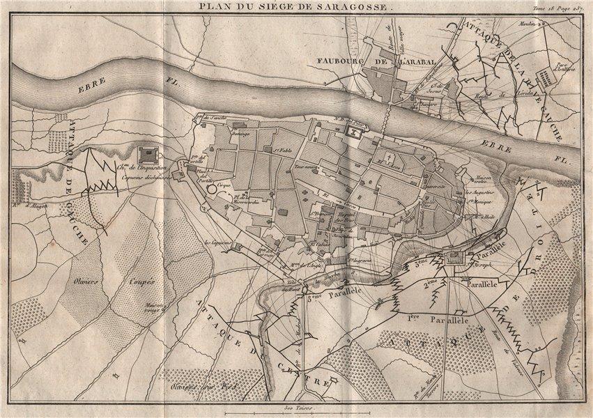 Associate Product Siege of Zaragoza 1808. Peninsula War. Saragossa. Spain 1820 old antique map