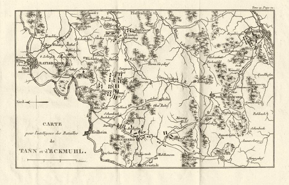 Battles of Teugen-Hausen/Thann & Eckmühl 1809. War of Fifth Coalition 1820 map
