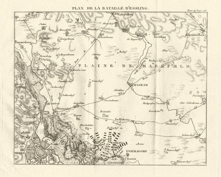 Associate Product Battle of Aspern-Essling 1809. Vienna Austria. War of Fifth Coalition 1820 map