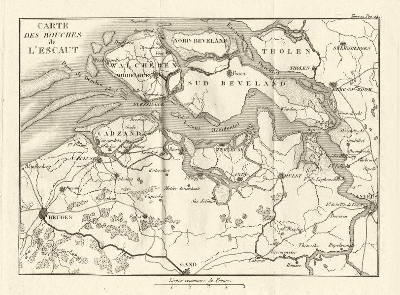 Scheldt/Escaut delta. Bruges Antwerpen Middelburg. Netherlands 1820 old map