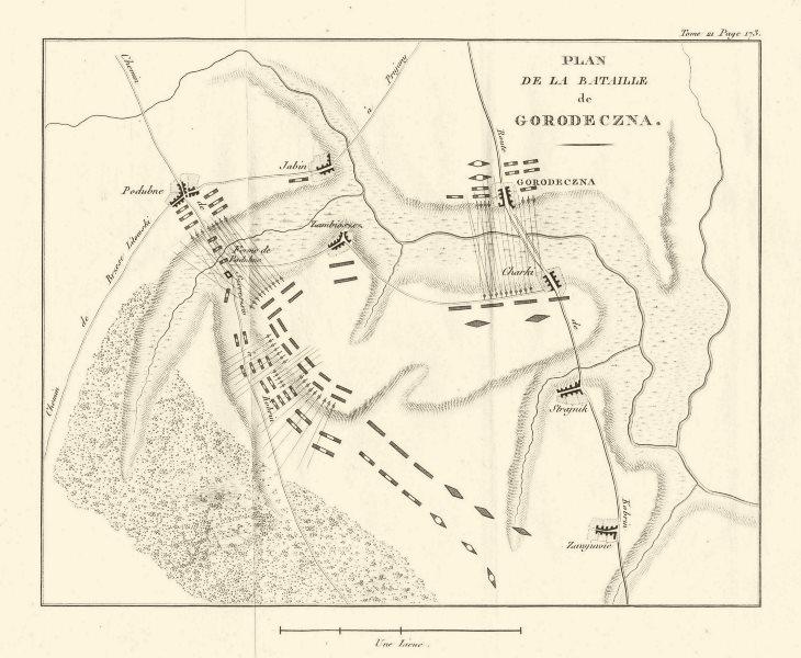 Associate Product Battle of Gorodeczna Haradziečna. Poddubno. Belarus 1820 old antique map chart
