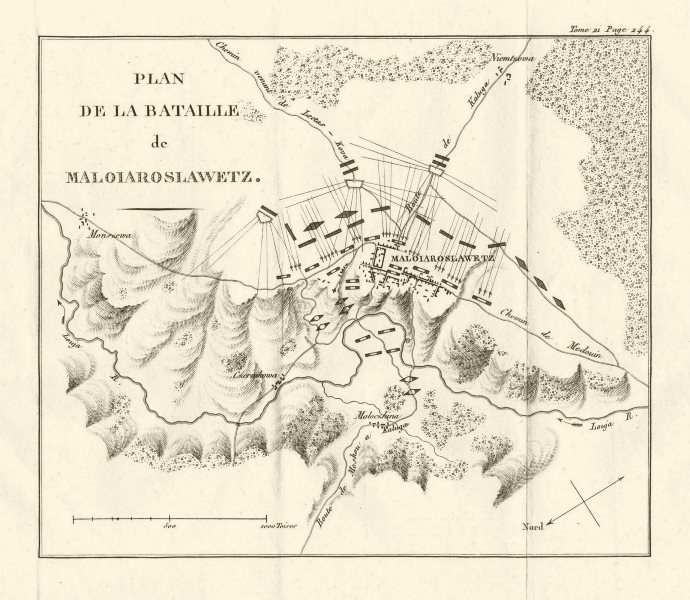 Associate Product Battle of Maloyaroslavets 1812. French Invasion of Russia 1820 old antique map
