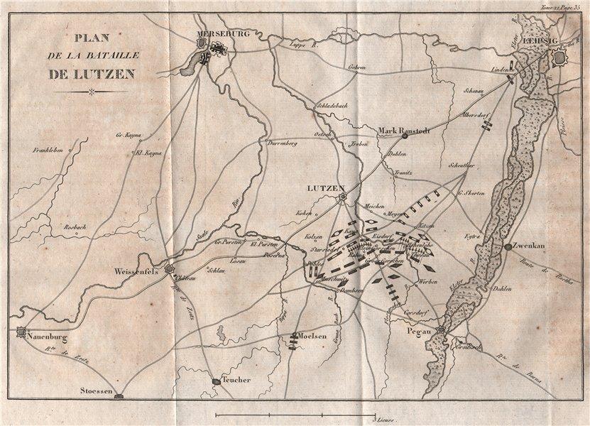 Associate Product BATTLE OF LUTZEN 1813. Leipzig Merseburg. Schlacht von Großgörschen 1820 map