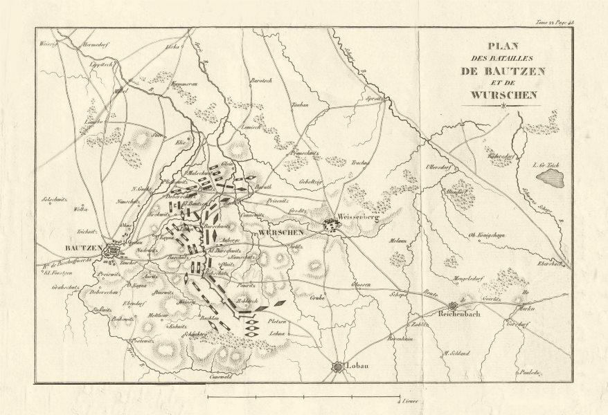 Associate Product Battle of Bautzen and Wurschen 1813. Saxony 1820 old antique map plan chart