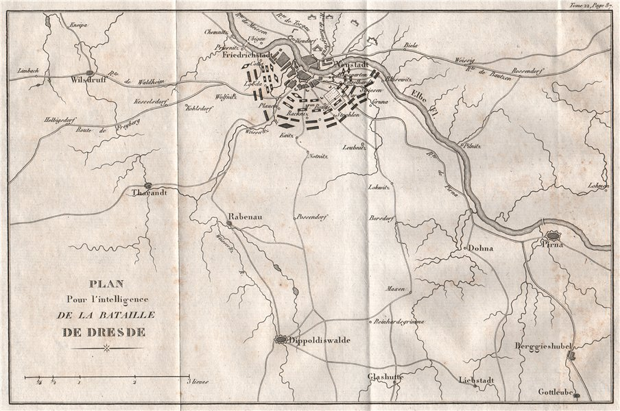 Associate Product Plan of the BATTLE OF DRESDEN 1813 & environs. Germany 1820 old antique map