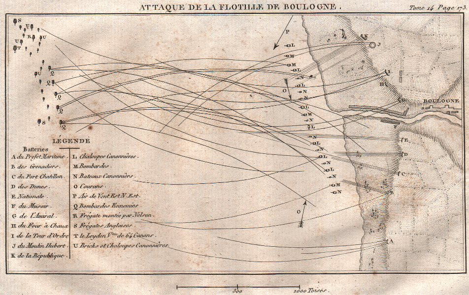Associate Product RAID ON BOULOGNE 1801. Attack of the Boulogne Flotilla. Nelson 1821 old map