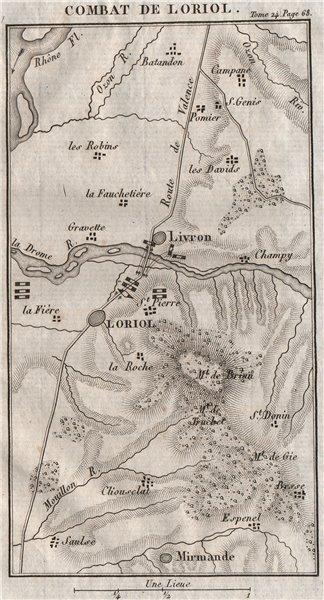 Associate Product Skirmish at Loriol-sur-Drôme & Livron-sur-Drôme 1815. France 1821 old map