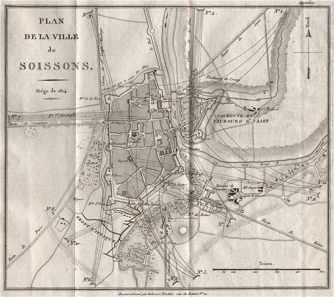 Associate Product Siege of SOISSONS 1814. City plan. Aisne 1821 old antique map chart
