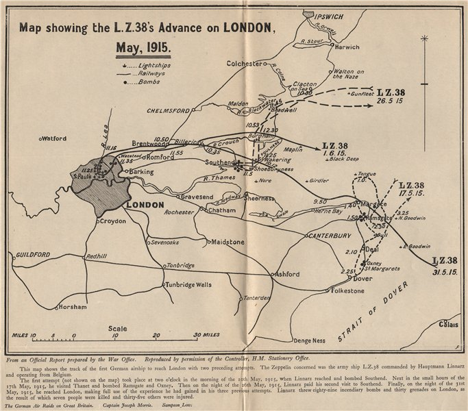 Associate Product Zeppelin Airship LZ38's advance/raid on London, May 1915 1925 old vintage map