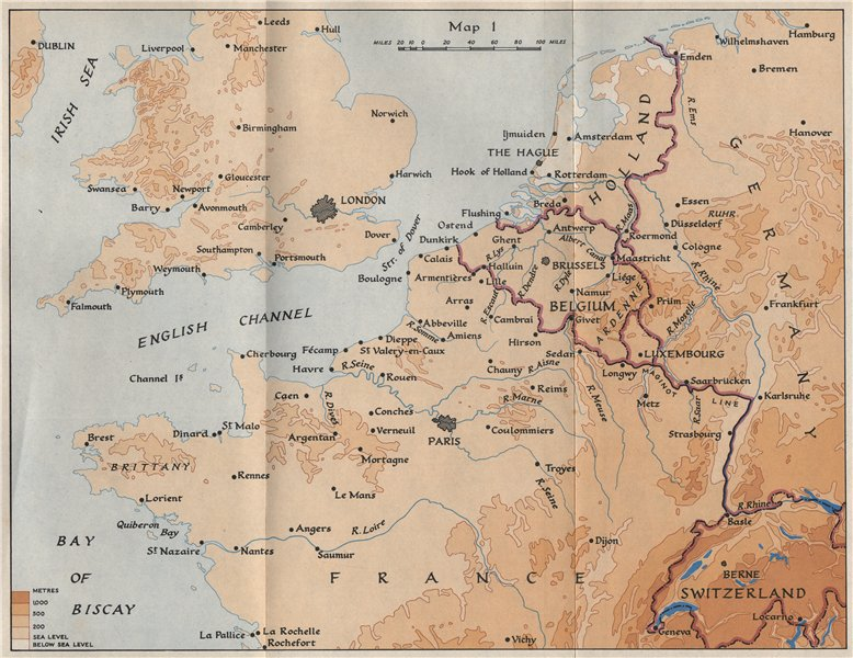 Map Of Northern France Belgium.Details About North West Europe In 1940 France Belgium Holland Germany Hmso 1953 Old Map