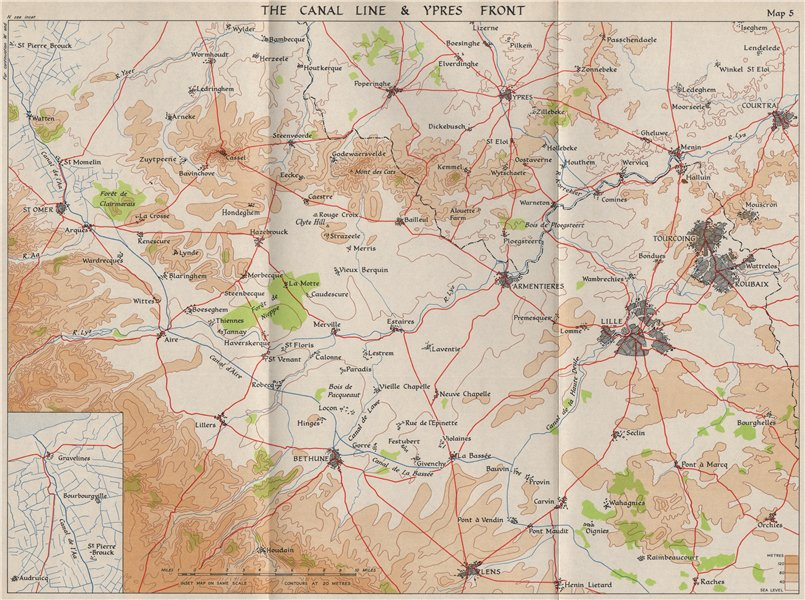 Associate Product FALL OF FRANCE 1940. Canal Line & Ypres front. Lille Roubaix St Omer 1953 map
