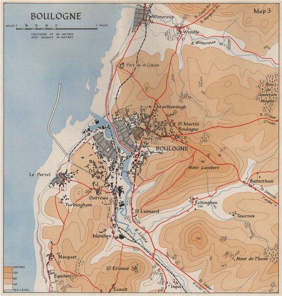Associate Product BOULOGNE town plan & environs in 1940. Pas-de-Calais. Wimereux Portel 1953 map