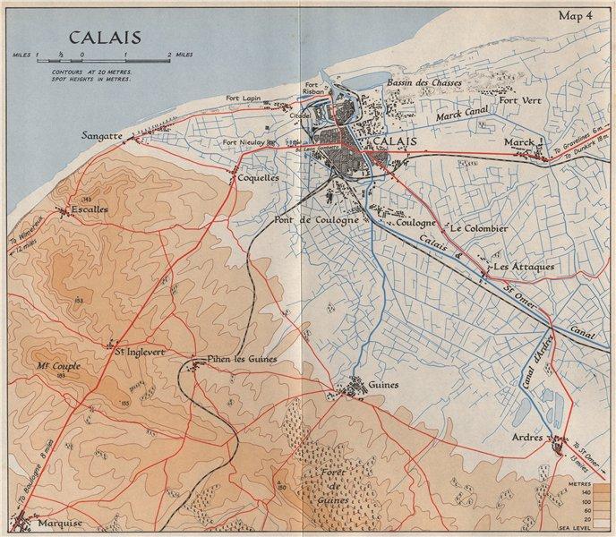 Associate Product CALAIS town plan & environs in 1940. Pas-de-Calais. Sangatte Guines 1953 map
