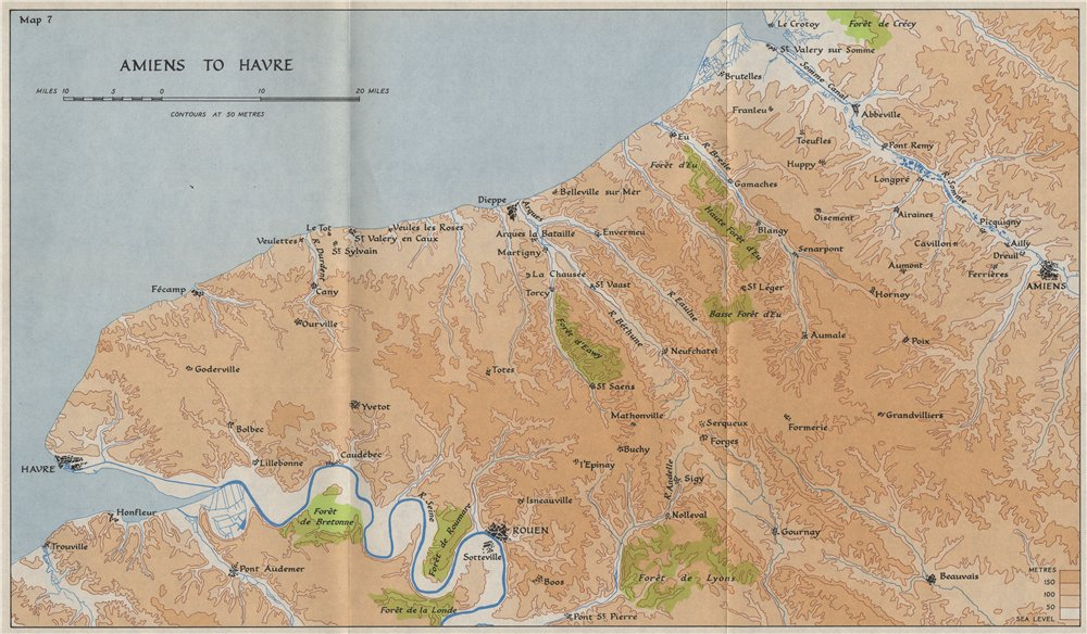 Associate Product SEINE-MARITIME in 1940. Amiens Le Havre Dieppe Rouen. HMSO 1953 old map