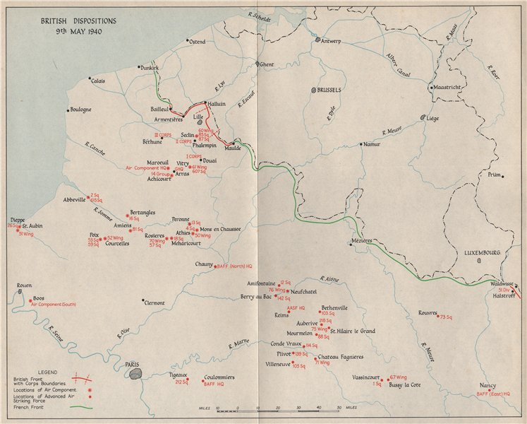 Associate Product FALL OF FRANCE. British troop dispositions 9th May 1940. French front 1953 map