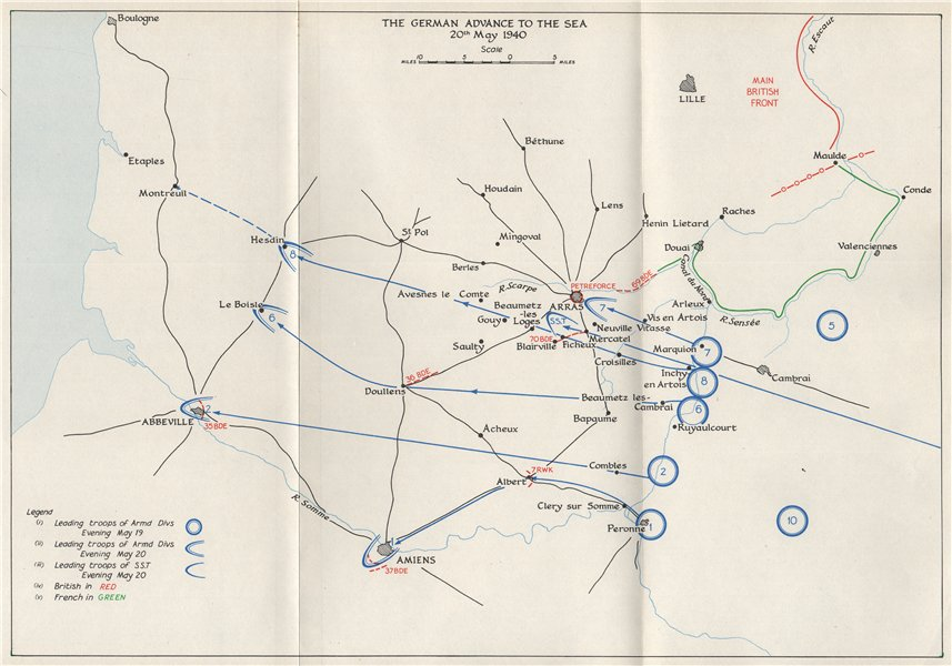 Map Of France 1940.Details About Fall Of France 1940 German Advance To The Sea 20 May Arras Abbeville 1953 Map