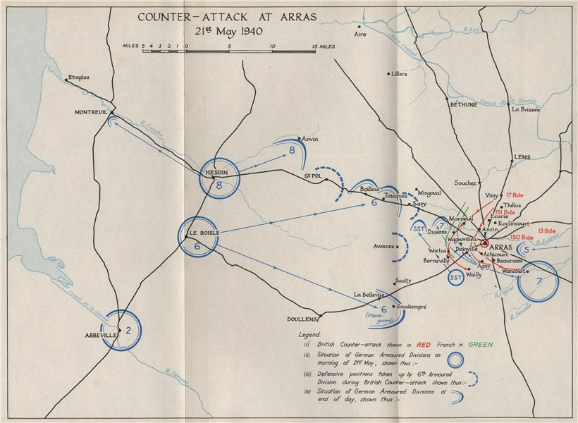 Associate Product FALL OF FRANCE 1940. Counter attack at Arras 21 May. Troop positions 1953 map