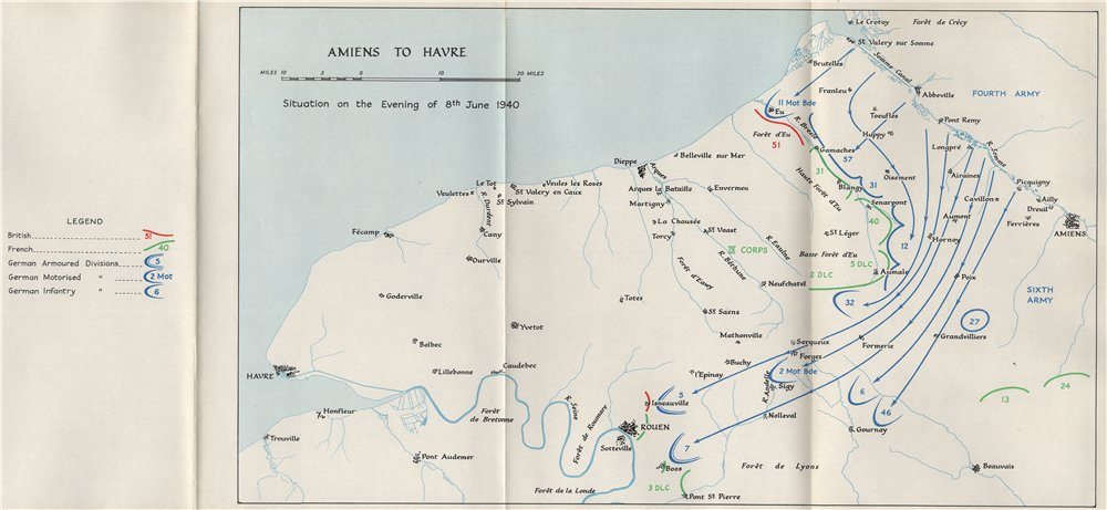 Associate Product FALL OF FRANCE 1940. Amiens Le Havre Dieppe. 8th June troop positions 1953 map