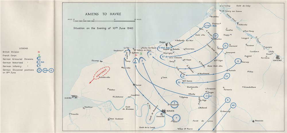 Associate Product FALL OF FRANCE 1940. Amiens Le Havre Dieppe. 10th June troop positions 1953 map