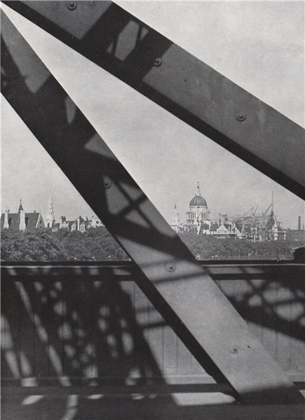 Associate Product Dome of St. Paul's Cathedral from old Waterloo Bridge. E.O. HOPPÉ 1930 print