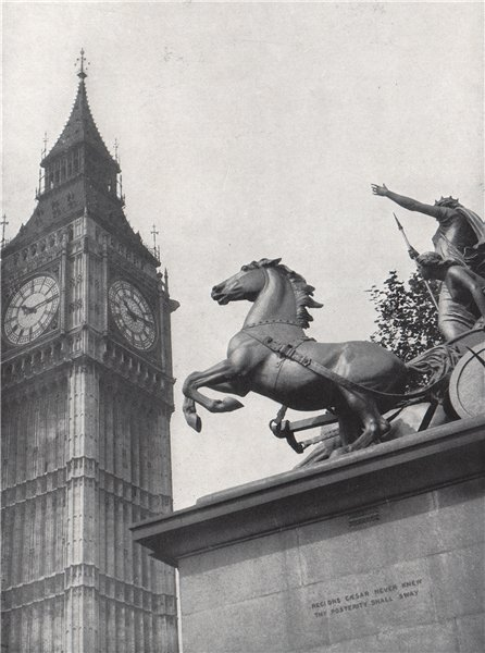 Clock Tower, Westminster. E.O. HOPPÉ. London 1930 old vintage print picture