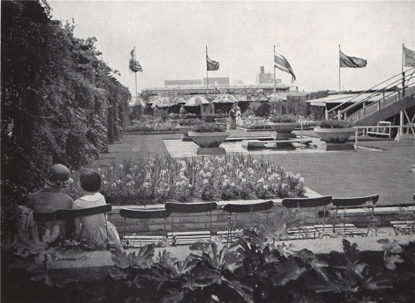 Associate Product A London roof garden in Oxford Street. E.O. HOPPÉ. London 1930 old print