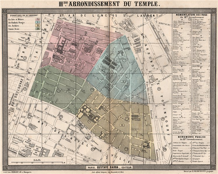 Associate Product PARIS 3e 3rd IIIme arrondissement du Temple. BARBA 1860 old antique map chart