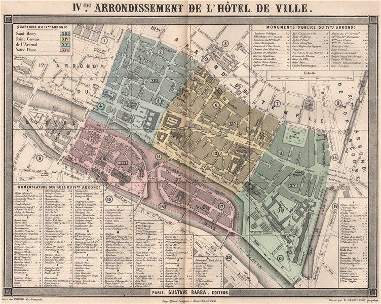 Associate Product PARIS 4e 4th IVme arrondissement de l'Hôtel de Ville. BARBA 1860 old map