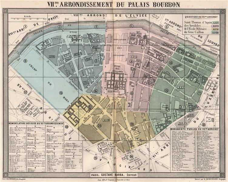 Associate Product PARIS 7e 7th VIIme arrondissement du Palais Bourbon. BARBA 1860 old map