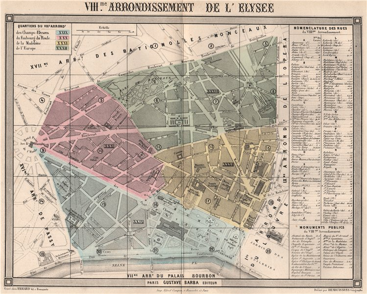 Associate Product PARIS 8e 8th VIIIme arrondissement de l'Élysée. BARBA 1860 old antique map
