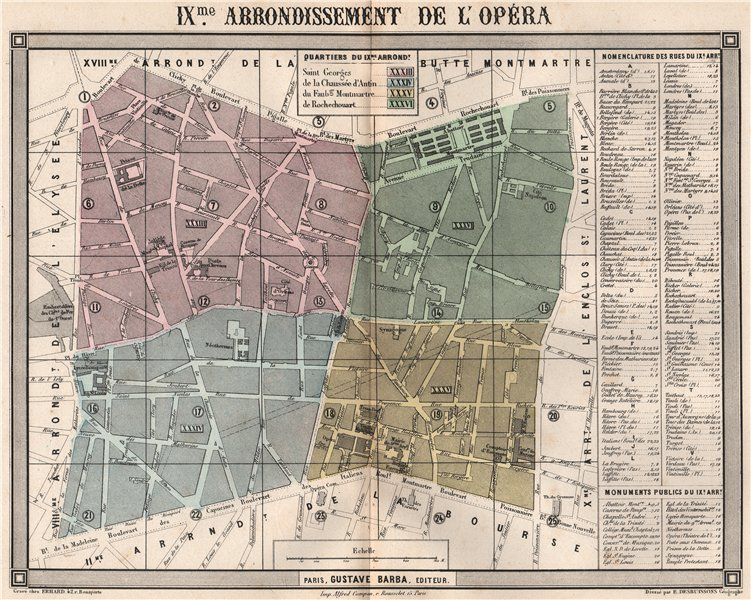 Associate Product PARIS 9e 9th IXme arrondissement de l'Opéra. BARBA 1860 old antique map chart
