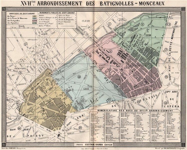 Associate Product PARIS 17e 17th XVIIme arrondissement des Batignolles-Monceaux. BARBA 1860 map
